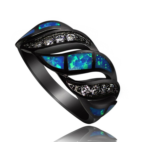 Black Gold Filled Blue Fire Opal Cocktail Ring - FREE Shipping!