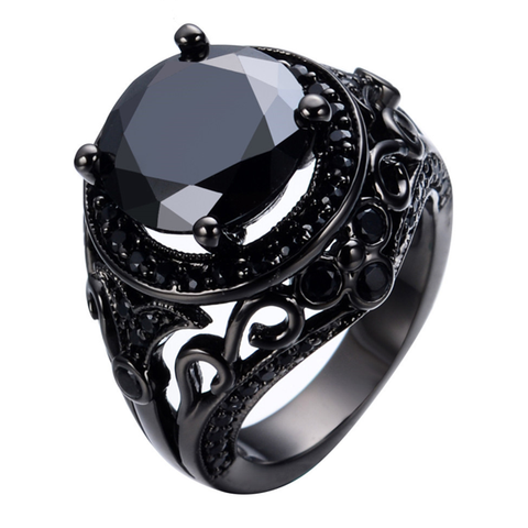 Black Gold Filled Black Zircon Stone Ring - FREE Shipping