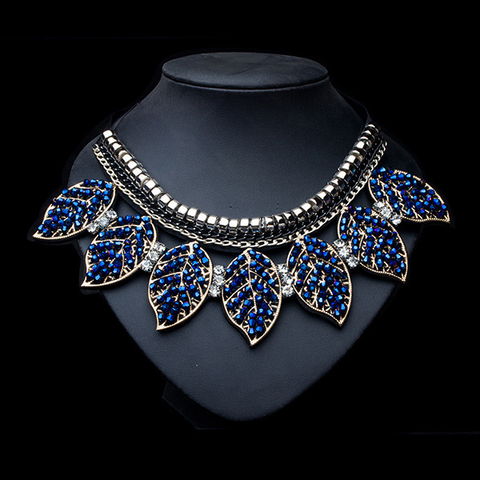 Blue Crystal Leaves Statement Party Necklace