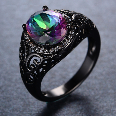 Black Gold Filled Multicolor Zircon Stone Ring - FREE Shipping!