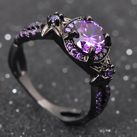 Black Gold Filled Purple Zircon Stone Ring - FREE Shipping!