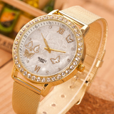 Crystal Butterfly Gold Stainless Steel Mesh Band Wrist Watch