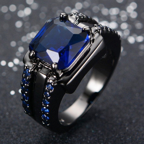 Black Gold Filled Blue Zircon Stone Ring - FREE Shipping!