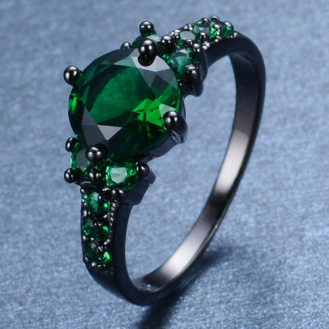 Black Gold Filled Green Zircon Stone Ring - FREE Shipping