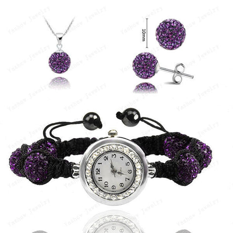 Crystal Shamballa Set Of Watch Necklace & Earring - FREE Shipping