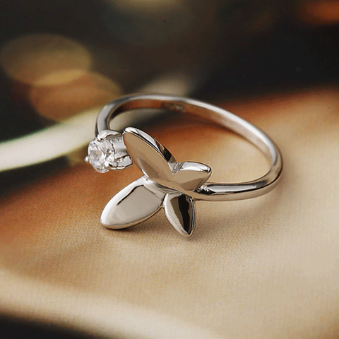 Bent Wing Silver Butterfly Resizable Ring