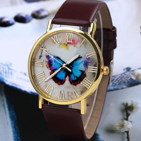 Butterfly Style Leather Band Analog Wrist Watch