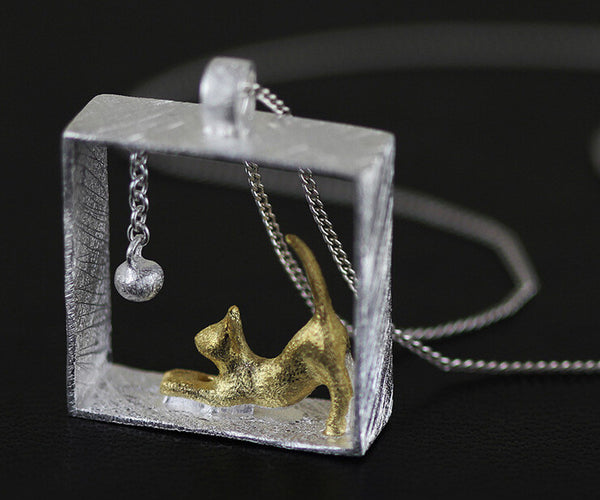 925 Sterling Silver Necklaces Rectangle Cat Pendants - Zetig.com