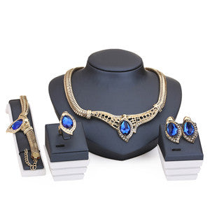 African Beads Crystal Pendant  Accessories and  Earrings Set
