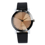 Quartz Stainless Steel Dial Leather Band Wrist Watch