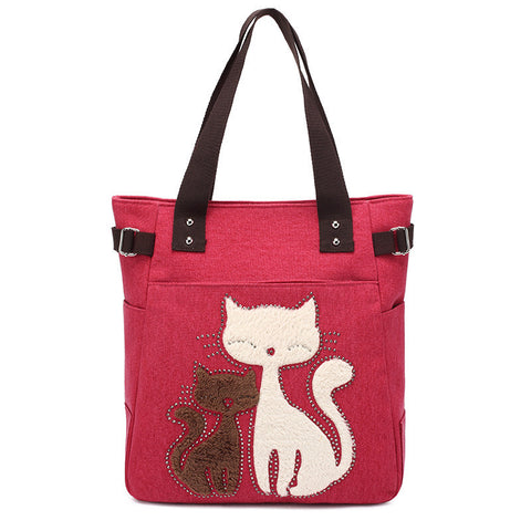 High Quality Canvas Casual  Cute Cat Hand Bags Ladies - Zetig.com #1 Online Fashion Store for Men & Women