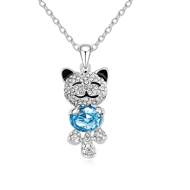 Colorful Lovely Cat Necklaces For Women Crystal - Zetig.com #1 Online Fashion Store for Men & Women
