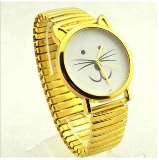 Happy Smile Cat  Watch Soft  Metal Golden Black Women Analog Quartz - Zetig.com #1 Online Fashion Store for Men & Women
