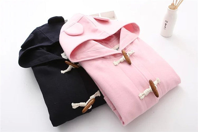 Black&Pink Bear ears hoodies Winter&Autumn Women basic coats Pullover - Zetig.com #1 Online Fashion Store for Men & Women