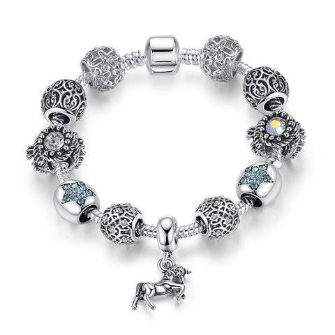 European crystal Beads jewelry silver bracelet for Women with horse charm - Zetig.com #1 Online Fashion Store for Men & Women