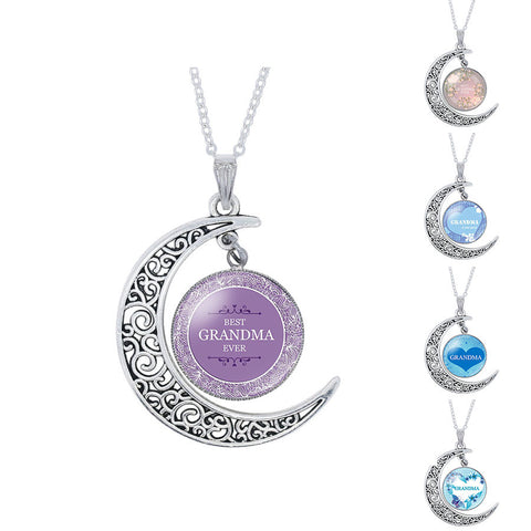 Grandma Glass Cabochon Moon Pendant Necklace - Zetig.com #1 Online Fashion Store for Men & Women