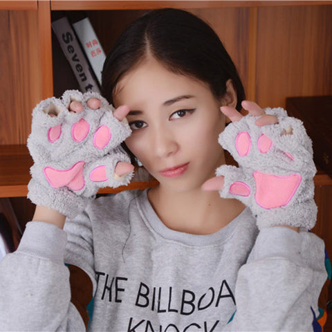 Fluffy Bear/Cat Plush Paw/Claw  Soft Toweling Half Gloves Mittens - Zetig.com #1 Online Fashion Store for Men & Women