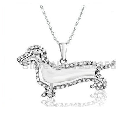 Fashion Silver Crystal Dachshund Sausages Pendant Necklace - Zetig.com #1 Online Fashion Store for Men & Women