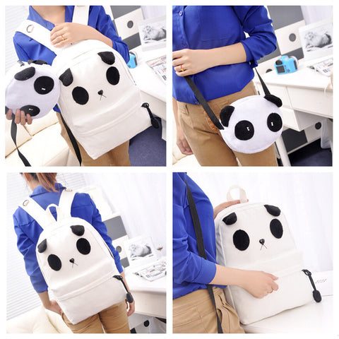 Cute Panda Canvas Backpack School Bag - Zetig.com #1 Online Fashion Store for Men & Women