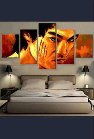 5 Panel Hd Canvas Bruce Lee Poster Art Modern Home Decorration Wall Living Room on Canvas - Zetig.com