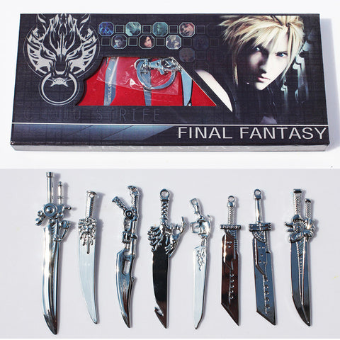 8pcs/set Anime Final Fantasy Sword Metal Weapons Toys With Box Free Shipping - Zetig.com
