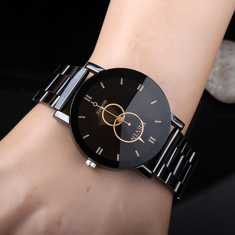 Black Round Steel Band Quartz Wrist Watch