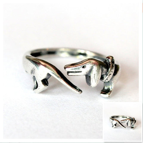 Ancient Silver Dachshunds Handmade Retro Animal Dog Memorial  Ring - Zetig.com