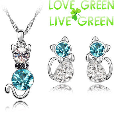 18K Gold Plated Austrian Crystal Cute Cat Pendant Necklace Earrings - Zetig.com