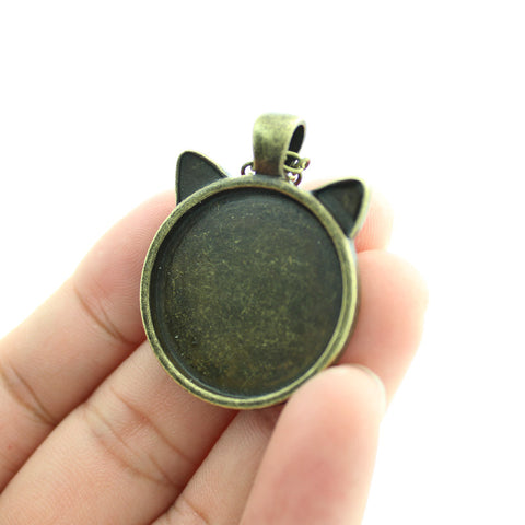 Black Pendant Cat Face Necklace Ear Jewelry Girls Glass Cabochon Necklace - Zetig.com #1 Online Fashion Store for Men & Women
