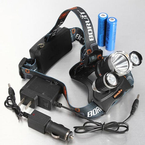 XM-L 3*T6 10W 3 Modes 5000LM White Light Headlamp Black
