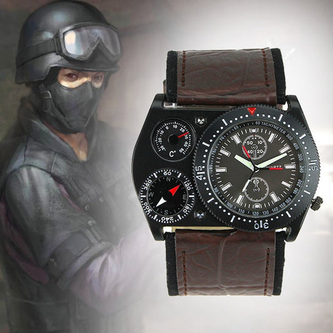 Fashion Men Oulm Compass Military Army Windmills Shape Leather Band Quartz Wrist Watch Coffee