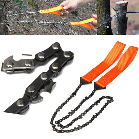 Outdoor Portable Manganese Steel Hand Chain Saw Black & Orange