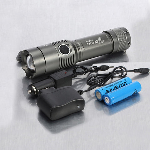 XM-L 2000LM 5 Modes White Light Adjustable Focus Zooming Aluminum Alloy LED Flashlight Grey