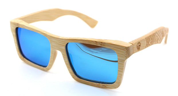 Floating Bamboo Polarized Lenses Sunglasses with Burgundy Framed Spring Hinges and Grey Lenses