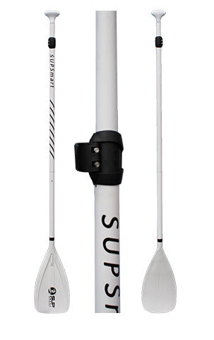 "32 ounces 3-pc Adjustable 67"" x 83"" White Fiberglass Shaft, White Plastic Blade and White Carbon Handle"