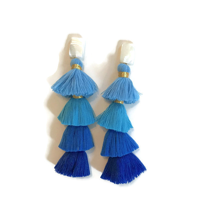 Ombre Tiered Tassels - Blue
