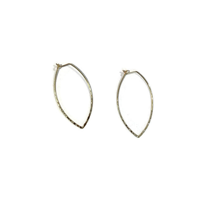hammered gold leaf marquise hoop earring