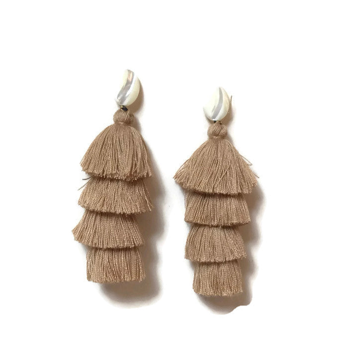 camel beige tan tiered tassel earrings fall fashion