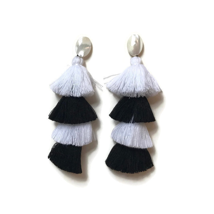 Black white tiered tassel earrings mother of pearl MOP