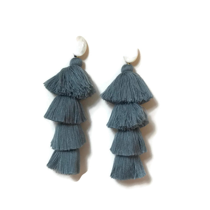 gray grey tiered tassel earrings