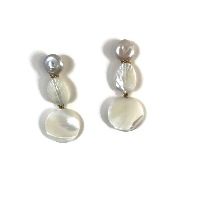 pearl mother of pearl drop earrings statement ball