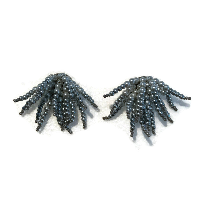 Costal pearl tassel earrings urchin gray beaded