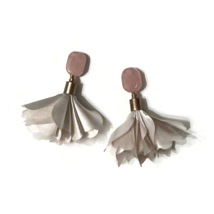 floral flower ivory petal rose quartz statement earring