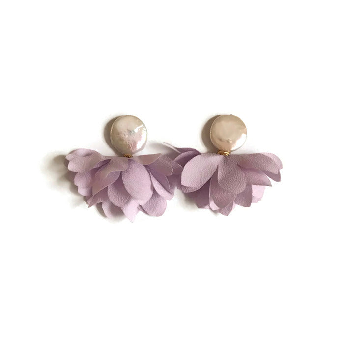 Floral petal lilac purple pearl earrings statement lavender