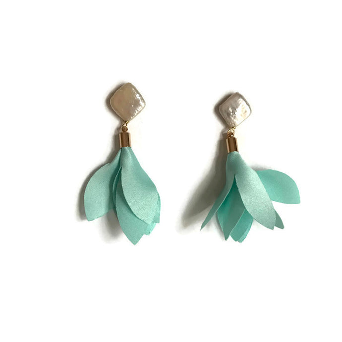 Tulip flower earrings chiffon mint tassel pearl statement