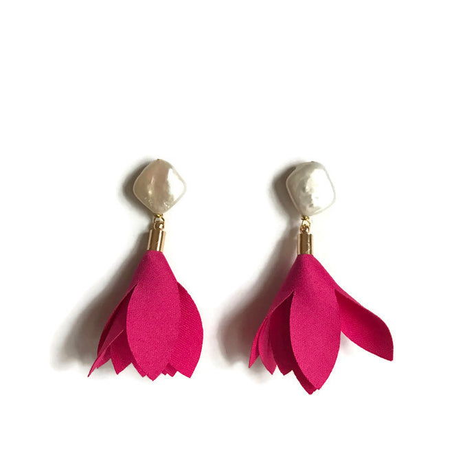 hot pink tulip flower petal tassel statement pearl earring