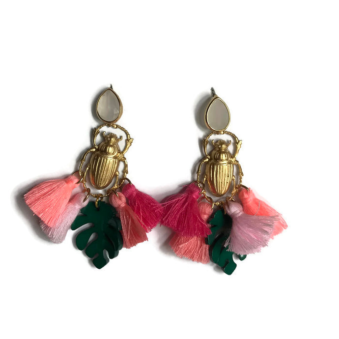 scarab insect tassel palm earring beach statement