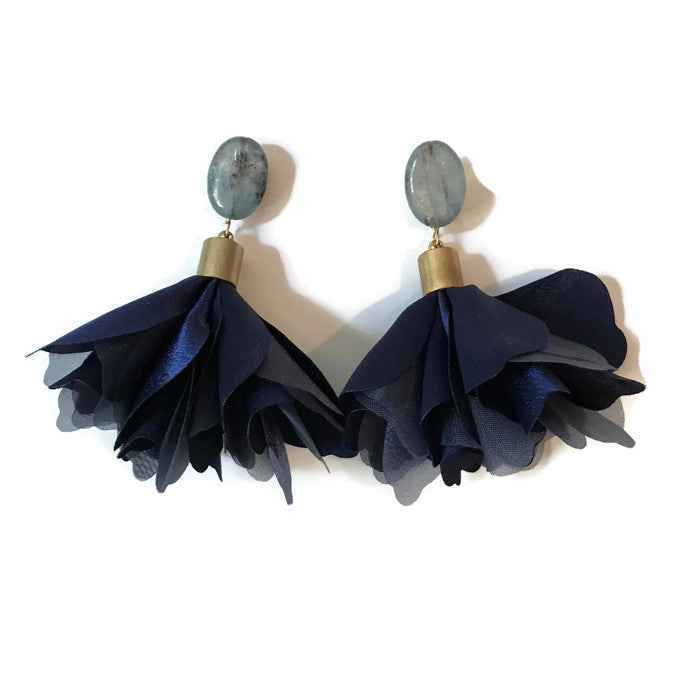 Floribunda Earrings - Navy