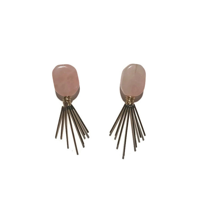 Rayos Earrings - Rose Quartz