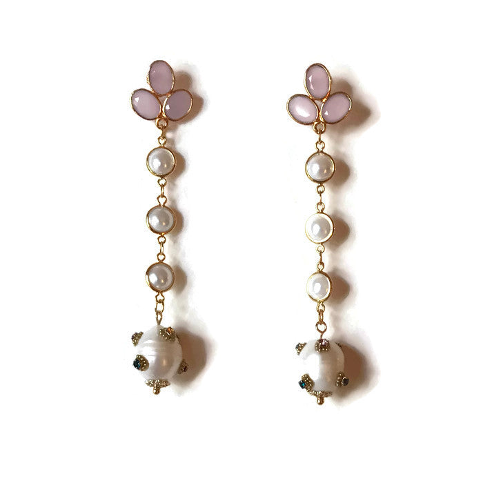Pink Chalcedony, Pearl & Baroque Pearl Drops